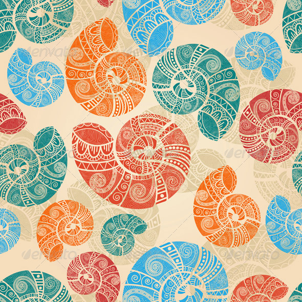 Vector Seamless Snail Pattern - Patterns Decorative