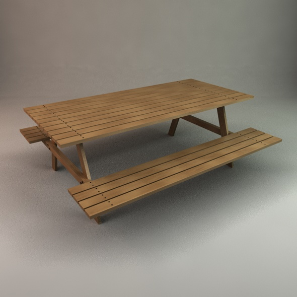 picnic table by christinewilde 3docean - Garden Furniture 3d Model