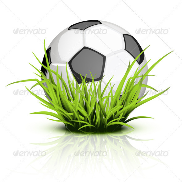 Soccer ball on reflecting grass - Sports/Activity Conceptual