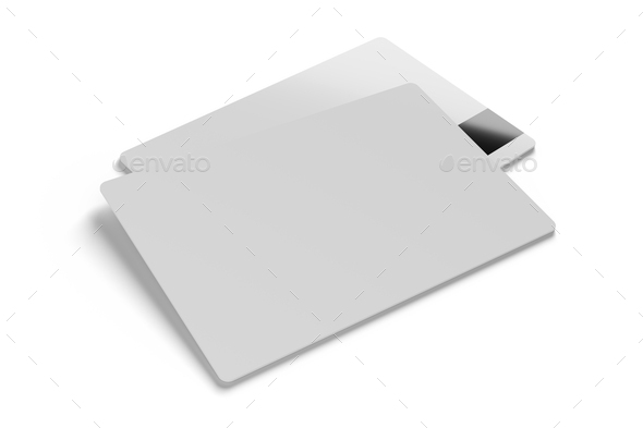 Plastic cards isolated on white. 3D rendering template mockup. - Stock Photo - Images