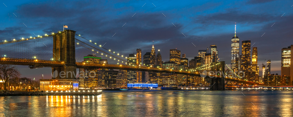 Banner and cover scene of New york Cityscape with Brooklyn Bridge over the east river - Stock Photo - Images