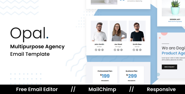 Opal - Responsive Email Template For Agency With Free Email Editor