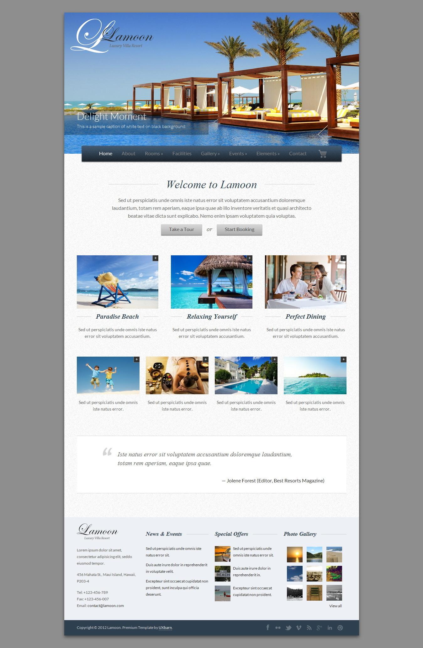 Lamoon - Responsive Resort and Hotel Template by UXBARN | ThemeForest