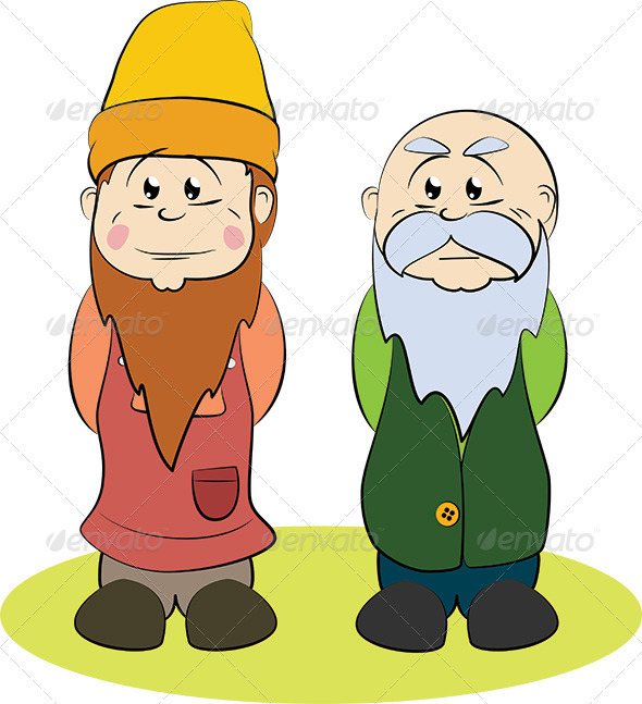 Two Gnomes, a Younger One and an Older One - People Characters