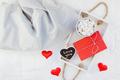 Romantic breakfast in bed. Valentine concept - PhotoDune Item for Sale
