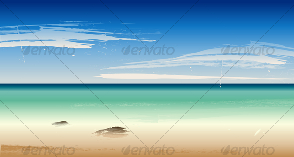 Vector Summertime at the Beach, Sea - Landscapes Nature
