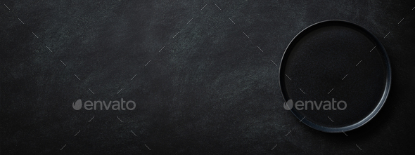 Black Banner with Empty Black Plate. - Stock Photo - Images