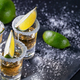 Tequila with lime on dark table with sprinkled salt - PhotoDune Item for Sale
