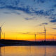 Wind generators power plant on lake at sunset - PhotoDune Item for Sale