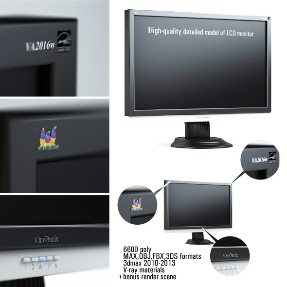 High-quality detailed model of LCD monitor - 3DOcean Item for Sale