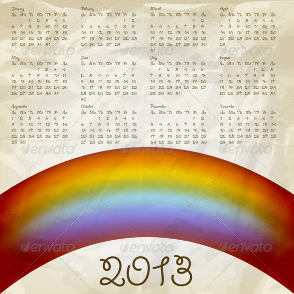 2013 Calendar with Rainbow - New Year Seasons/Holidays