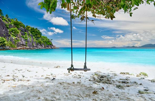 Beautiful Petite Anse beach at Seychelles - Stock Photo - Images