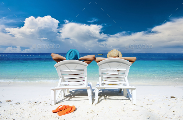 Couple on a beach - Stock Photo - Images