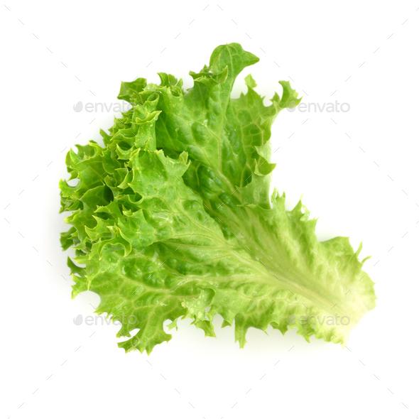 Salad leaf. Lettuce isolated on white background - Stock Photo - Images