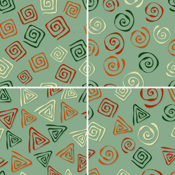 4 Vector Seamless Patterns with Funky  Figures - Patterns Decorative