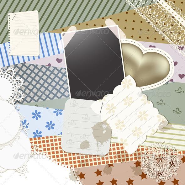 Vector Scrapbook Template - Patterns Decorative
