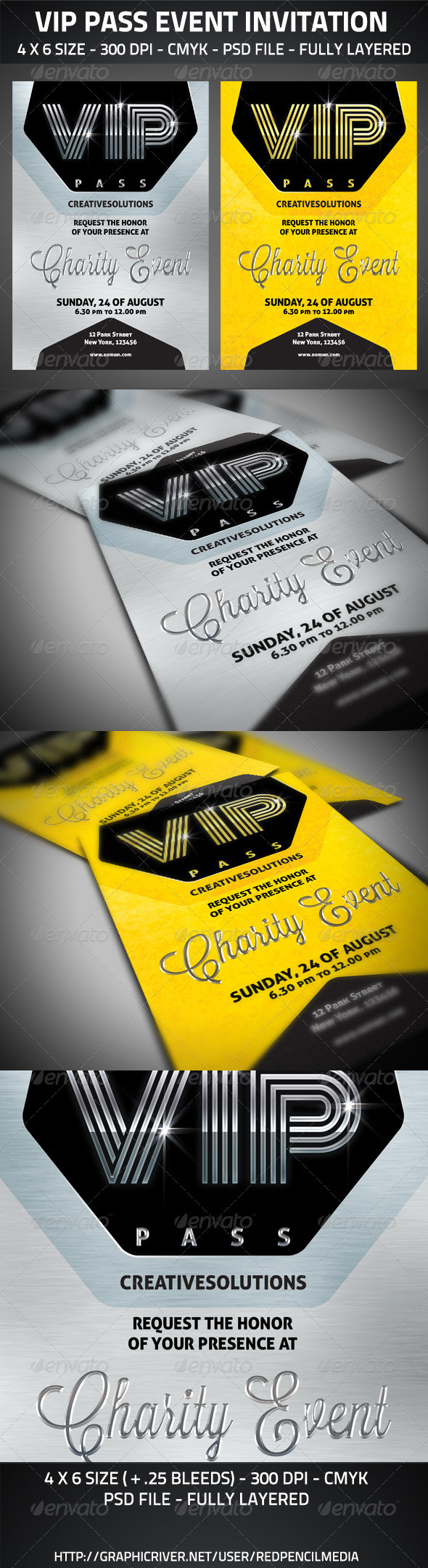 VIP Pass Event Invitation - Cards & Invites Print Templates