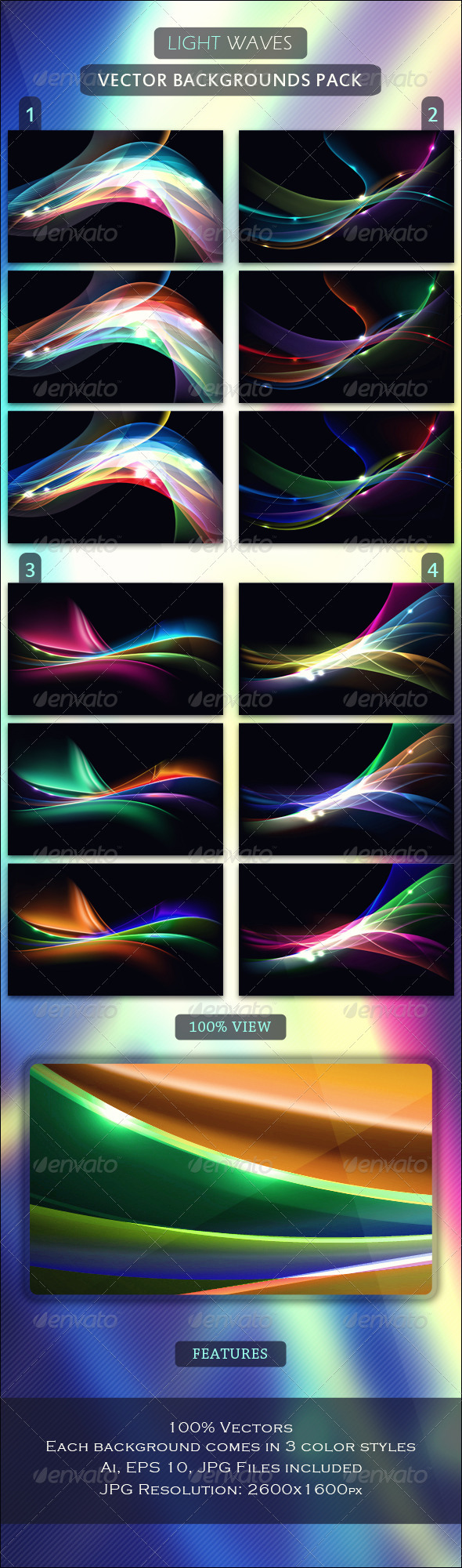 Light Waves - Vector Backgrounds Pack - Backgrounds Decorative