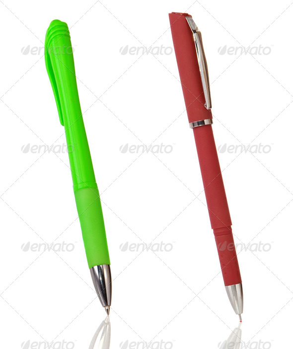 red and green pens isolated on white - Stock Photo - Images