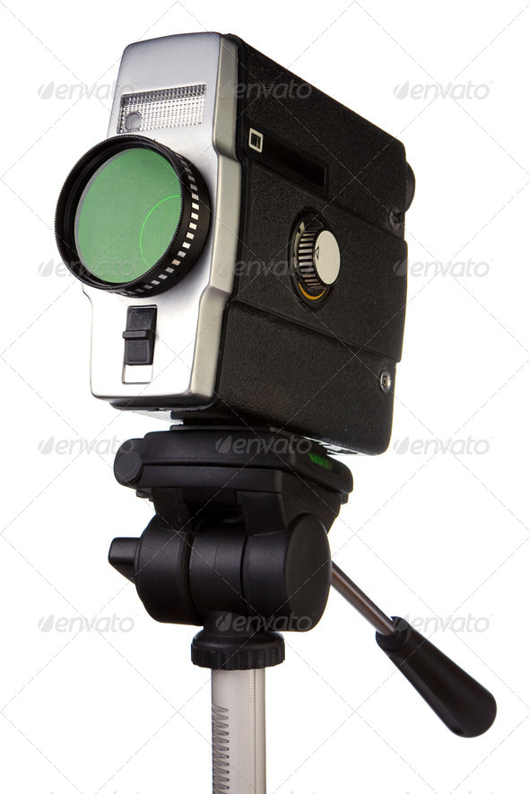 old film camera on tripod isolated on white - Stock Photo - Images
