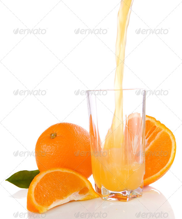 flowing juice and orange isolated on white - Stock Photo - Images