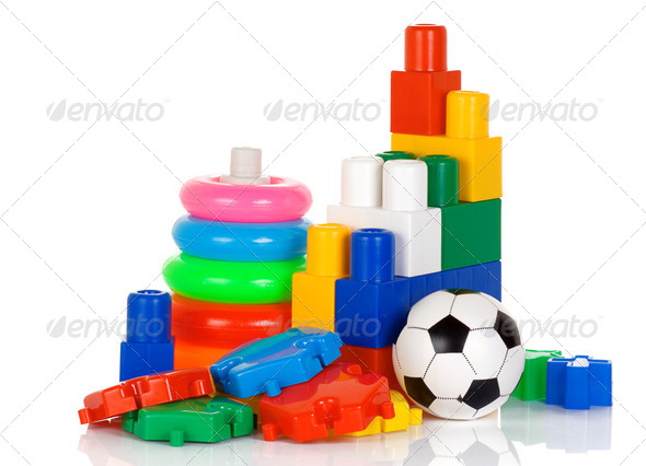colorful plastic toys isolated on white - Stock Photo - Images