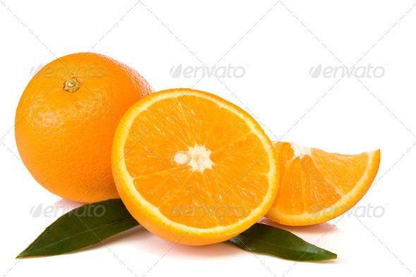 oranges and green leaves isolated on white - Stock Photo - Images