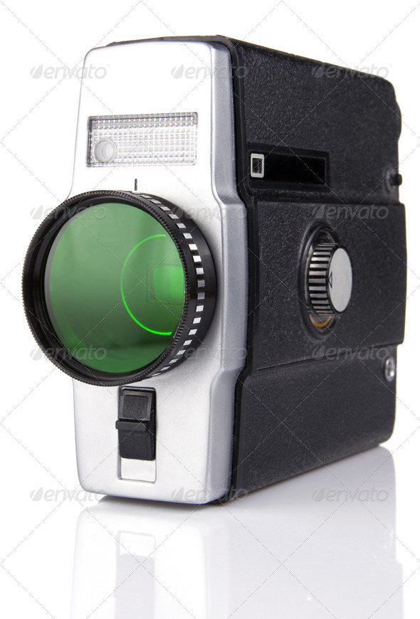 old film camera isolated on white - Stock Photo - Images