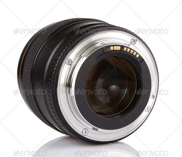 professional photo lens isolated on white - Stock Photo - Images