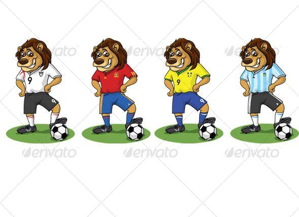 Lion with National Soccer Jerseys - Animals Characters
