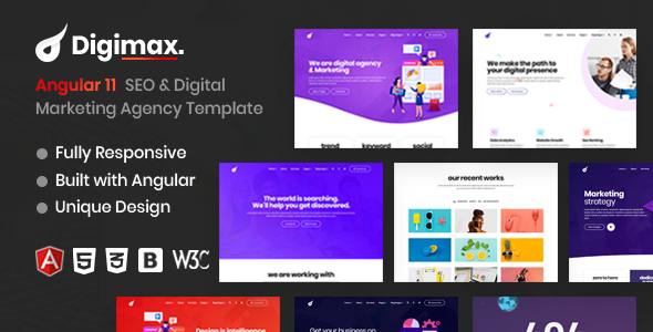 Awesome Digimax - Angular 11 SEO & Digital Marketing Agency Template