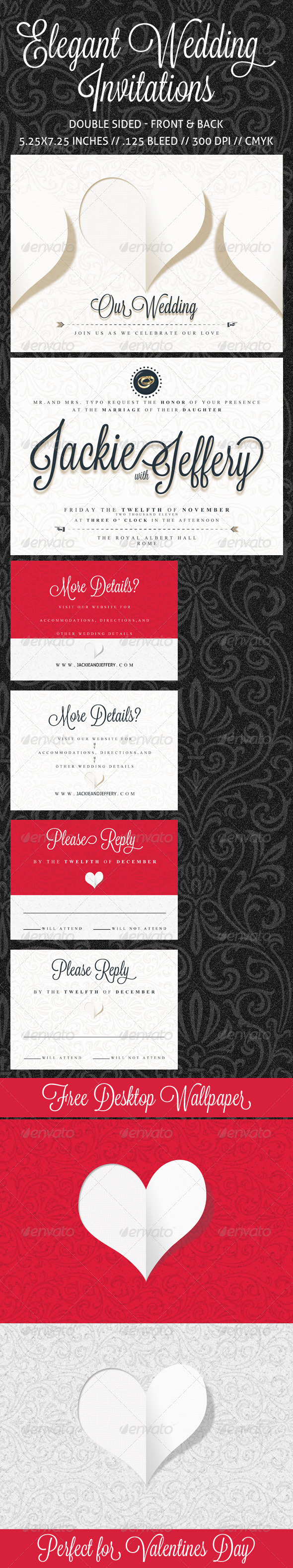 Elegant Wedding Invitation, RSVP and Info Card