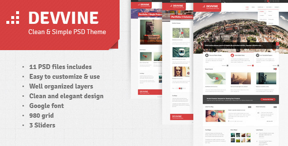 Devvine – Modern and Clean PSD Theme