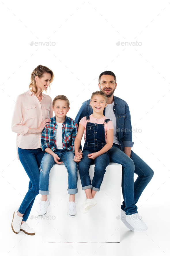 happy children holding hands with parents near by isolated on white - Stock Photo - Images