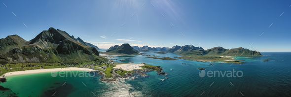 Panorama Beach Lofoten archipelago islands beach - Stock Photo - Images