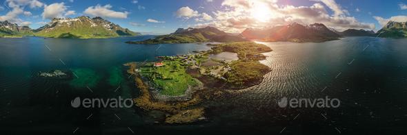 Panorama Beautiful Nature Norway. - Stock Photo - Images