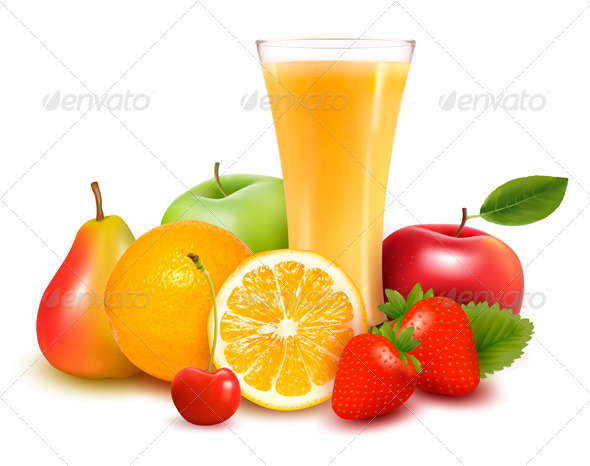 Fresh fruit and glass with juice. - Food Objects