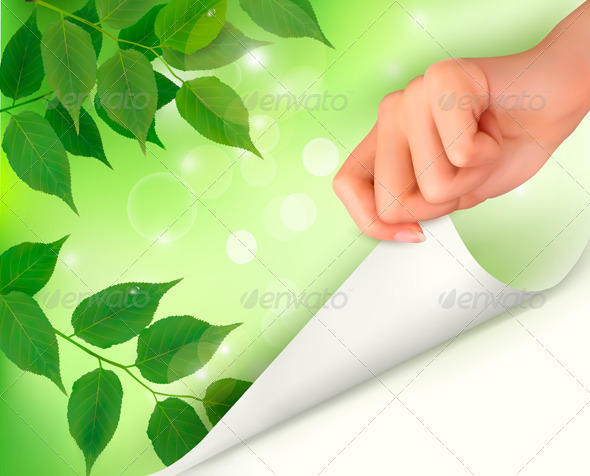 Nature green background with fresh leaves and hand - Flowers & Plants Nature