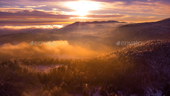 sunrise over the mountains - Stock Photo - Images