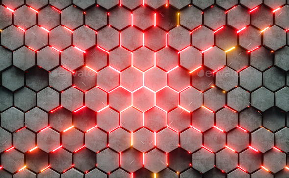 3D Illustration. Hexagonal abstract background. - Stock Photo - Images