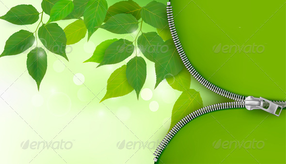 Nature background with fresh green leaves and zip - Flowers & Plants Nature