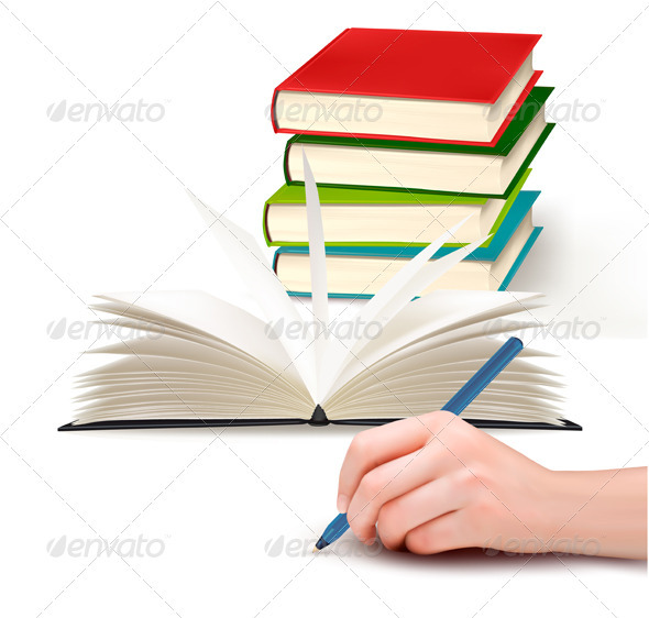 Hand with pen writing on paper and stack of book   - Concepts Business