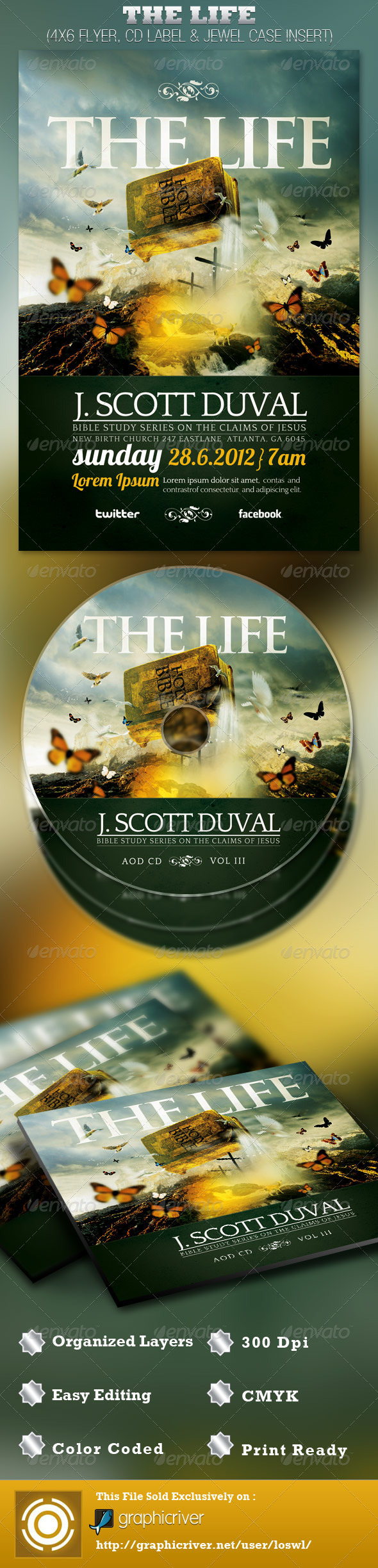 The Life Church Flyer and CD Template - Church Flyers
