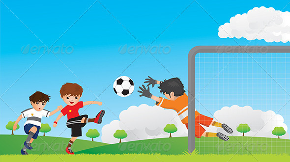Kids Play Football - People Characters