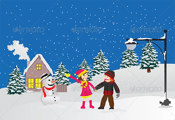 Friendship in Winter - Seasons/Holidays Conceptual