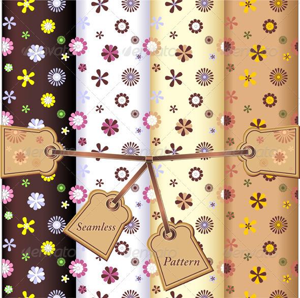 Set Seamless flowers patterns - Patterns Decorative
