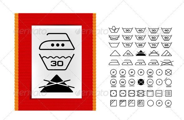 Washing Symbols On Clothing Labels By Sermax55 Graphicriver