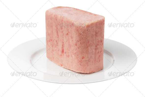 Luncheon Meat on Plate - Stock Photo - Images