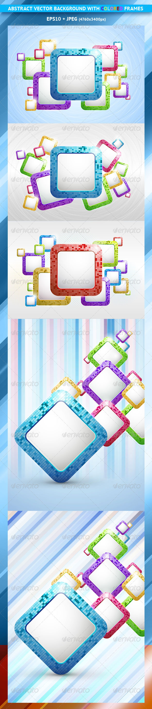 Set of Abstract Vector Backgrounds with Frames - Backgrounds Decorative