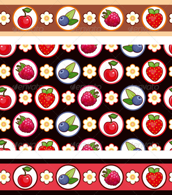 Seamless Berry Background - Backgrounds Decorative